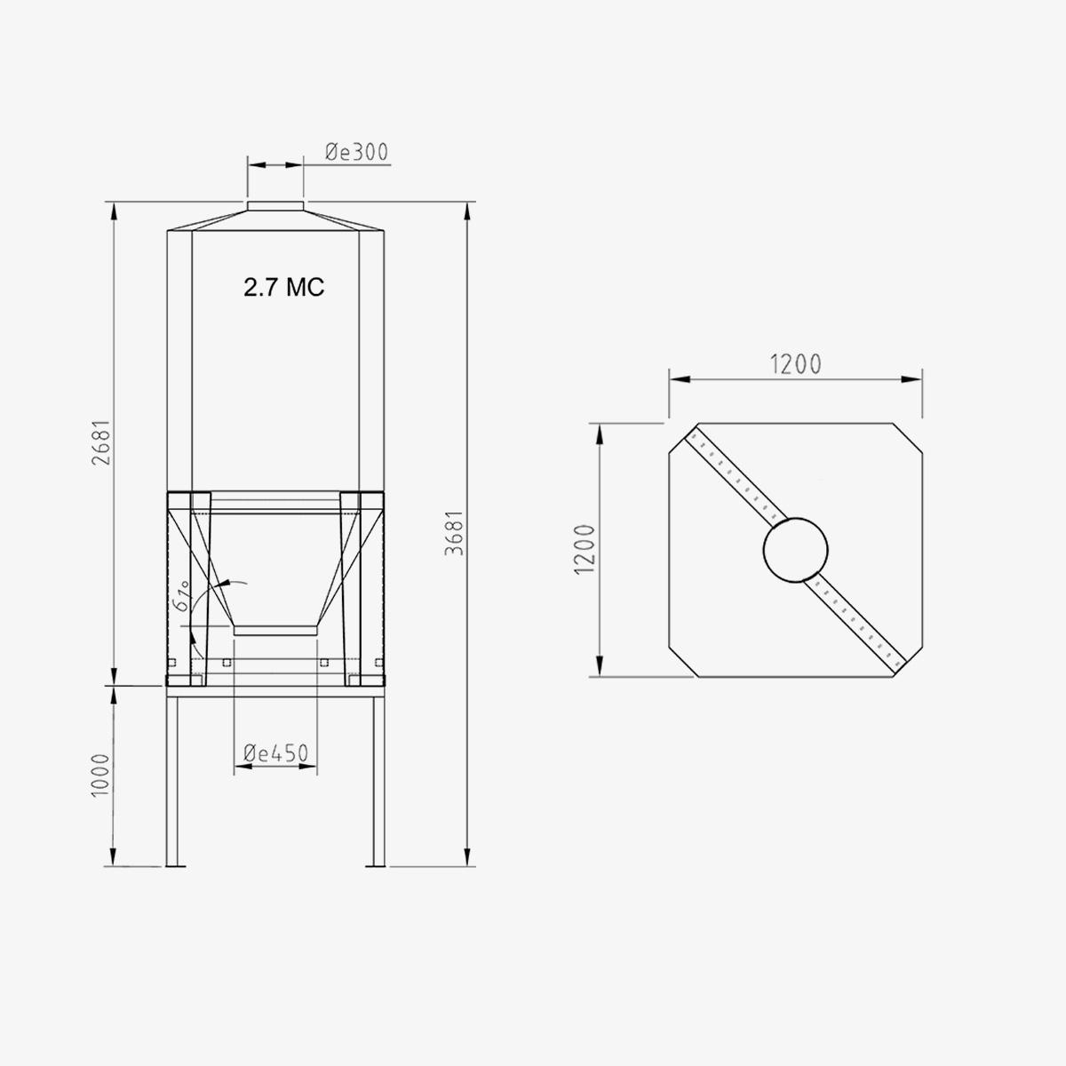 Silos in vetroresina Mod. CUBO2,7