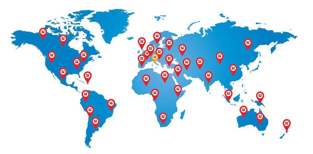 Cartina presenza nel mondo Agritech